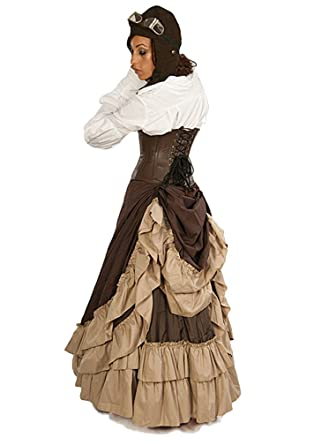 4e26d389550 Steampunk Victorian Full Length  quot Persephone quot  Bustle Skirt Khaki  Brown ...