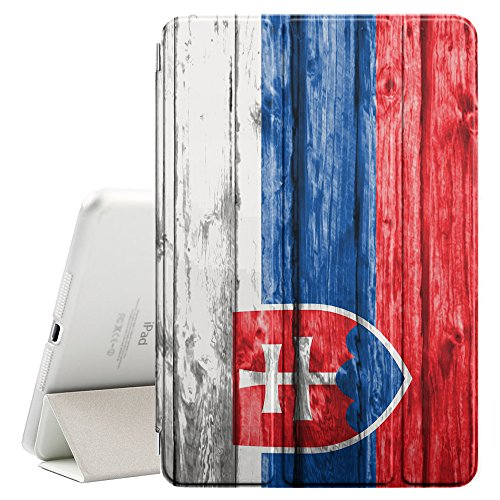 vak Wood Pattern Flag Smart Cover Stand + Back Case with Auto Sleep/Wake Function for Apple iPad Air 2 (Slovak Air)