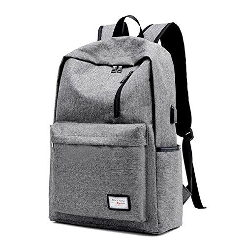 Price comparison product image MIJORA-Men Women Anti-Theft Backpack USB Charging Travel School Bag Laptop Rucksack(color: 2 grey )