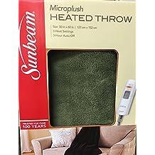 "Sunbeam MicroPlush Electric Heated Throw Blanket, Gift Boxed, 3-Heat Settings, Machine Washable, 50"" x 60"" (Sage Green)"