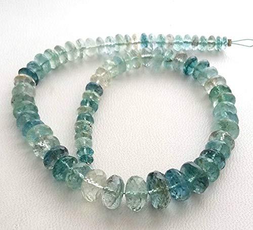 Reserve Moss Aquamarine,Moss Aqua, Faceted Beads,AAA+++ Quality Moss Aqua rondelles Beads, 4 mm - 10 mm, 10''Strand [E1571] Moss Aqua Beads by KALISA GEMS