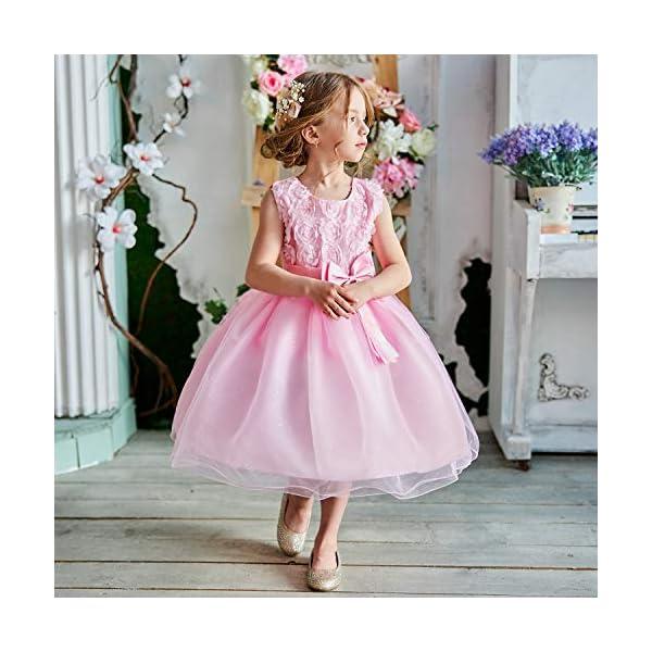 NNJXD Vestito Cerimonia Bambina,Ragazza Gonna a Fiori in Pizzo 3D Senza Maniche Vestito da Principessa delle Feste 4