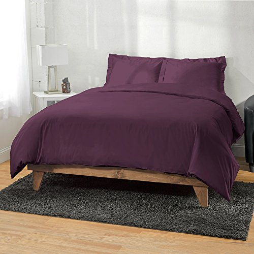400 Thread Count Long Staple Cotton Solid 3pc Duvet Cover by ExceptionalSheets, Breathable & Comfortable, King/CalKing, Plum by ExceptionalSheets