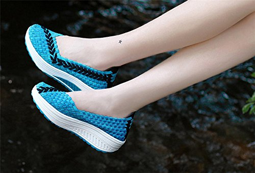 Believed Woven Flats Women Breathable Soft Mother Loafer Fashion Nurse Summer Blue Shoe Shoes Casual Women xIpIrTqwY
