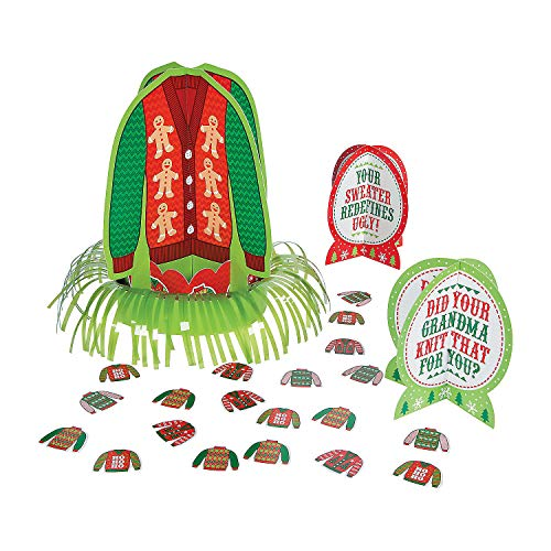 Fun Express - Ugly Sweater Table Decor Kit (23pc) for Christmas - Party Decor - General Decor - Centerpieces - Christmas - 23 -