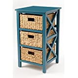 eHemco 3 Tier X-Side End Table/Storage Cabinet 3 Baskets(Teal)
