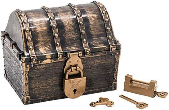 TOYANDONA Cofre del Tesoro Pirata con 2 Cerraduras Caja de Tesoro Grande de Plástico Caja de Almacenamiento de Joyería Pirata para Suministros de Fiesta: Amazon.es: Juguetes y juegos