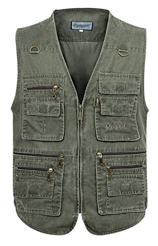 Gihuo Men's Casual Outdoor Leisure Lightweight Pockets Fishing Photo Journalist Hunting Vest Plus Size (L, Army Green)