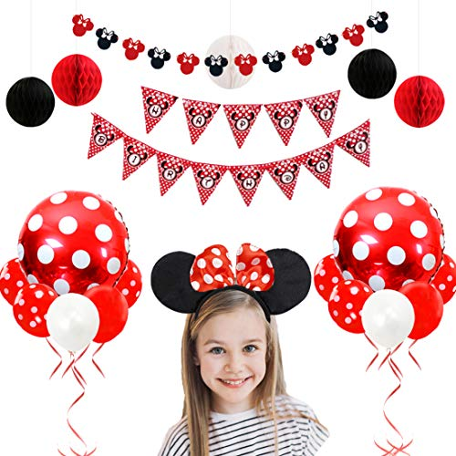 Minnie Mouse Birthday Decorations Red and Black for Girls with Minnie Ears Garland, Headband, Paper Honeycomb Balls and -