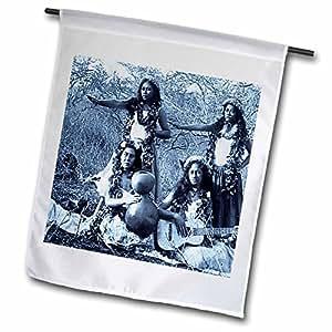 3dRose fl_8510_1 Vintage Hula Girls Selenium Garden Flag, 12 by 18-Inch