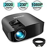 "Projector, GooDee 2020 Upgrade HD Video Projector Outdoor Movie Projector, 230"" Home Theater Projector Support 1080P, Compatible with Fire TV Stick, PS4, HDMI, VGA, AV and USB"