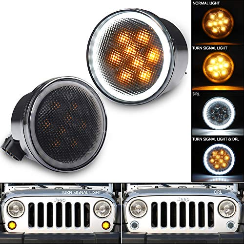 (Jeep Turn Signal Lights, SEUYA Smoked Lens Front Signal Parking Lights Amber Driving Lights with White Halo Ring for 2007-2017 Jeep Wrangler JK JKU 1 Pair)