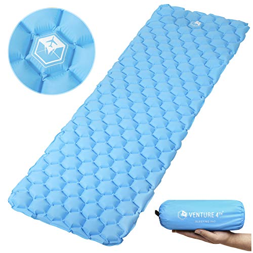 Ultralight Compact - VENTURE 4TH Ultralight Sleeping Pad Lightweight, Compact, Durable, Tear Resistant, Supportive and Comfy | for Camping, Traveling, Lounging, Sleeping Bags, Hammocks, Hiking and More | Light Blue