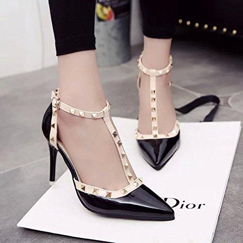 yalanshop Remache los Cuero de Baotou de Pintados Sandalias Alto de de Shoes Bien 37 Punta Alta Tacón Heel con Zapatos Negro rrxYwgZqd