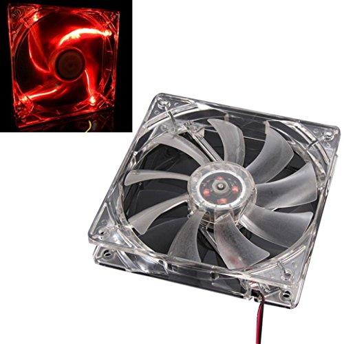 Flexible USB Mini Cooling Fan,GOODCULLER Quad 4-LED Light Neon Clear 120mm PC Computer Case Cooling Fan Mod (D)