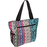 Silverhooks Womens Boho Patchwork Beach Tote Bag w/ Black Trim (Multi Color)