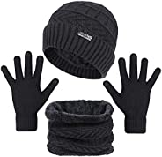 Tanasa_Clothes 3-Pieces Winter Beanie Hats, Scarf and Touch Screen Gloves Set for Men and Women, Warm Knit Cap