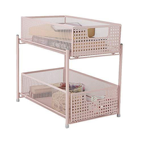 Mind Reader Cabinet, Mesh Storage Baskets Organizer, Home, Office, Kitchen, Bathroom, One Size, Pink 2 Tier Heavy Duty