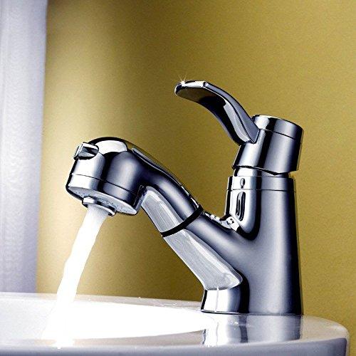 IJIAHOMIE Waschtischarmatur Badarmatur Wasserhahn Bad,Wassersparfunktion,Wasserfall Wasserhahn Rundes Shampoo heiß und Kalt