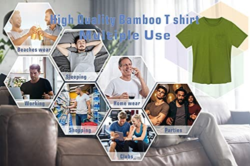 PLAIN POCKET BAMBOO T SHIRTS FOR MEN - SHORT SLEEVE CREW NECK COOL CASUAL WORKWEAR T-SHIRTS