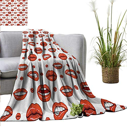 AndyTours Summer Blanket,Vintage,Various Women Lip Forms in Several Gestures Sexy Sad Nervous Happy Female,Vermilion White,Lightweight Breathable Flannel Fabric,Machine Washable -