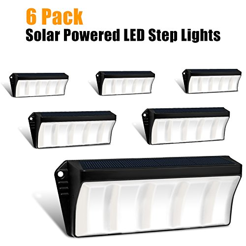 Solar Powered Stair Step Light, Wireless Waterproof Outdoor Lights Security Directive Decorative Lighting for Backyards Decks Driveway Fence Garden Garage Porch Pathway Patio Wall