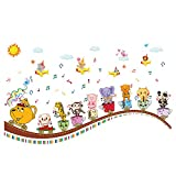 decalmile Animal Train Wall Decals Elephant Monkey Music Notes Wall Stickers for Removable Wall Art for Kids Bedroom Nursery Baby Room