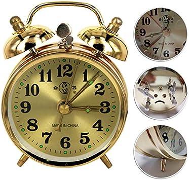 ShunHoo Reloj de Alarma mecánicoDorado, Cuerda Manual de Metal Antiguo Vintage Reloj Despertador, Pantalla versión Linda decoración del hogar