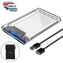ELUTENG USB3 External Hard Drive Enclosure Clear 2.5 SATA to USB3 UASP Portable SSD Hard Drive Case Max 2T HDD Tool-Free Transparent for Samsung WD Intel