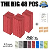 """Dragon Dash (48 Pack) of 9.8"""" X 9.8"""" X 1.1"""" Inches Red Acoustic Soundproofing Convoluted Egg Crate Foam Studio Treatment Wall Panel Tiles DD1052 (RED)"""