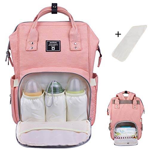 - Baby Diaper Bag Backpack Multi-Function Waterproof Travel Nappy Tote Bags Large Capacity Creative Fashion Package For Both Mon&Dad //Orange-Pink