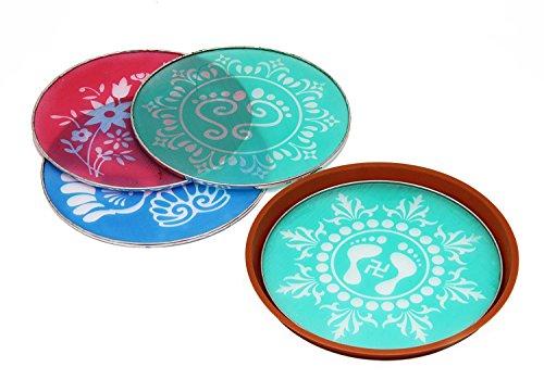 - Odishabazaar Designer Rangoli Stencil Floor Art Decor Set of 4 with Traditional Indian Motifs & Patterns Festive Party Decorations + Free Gift
