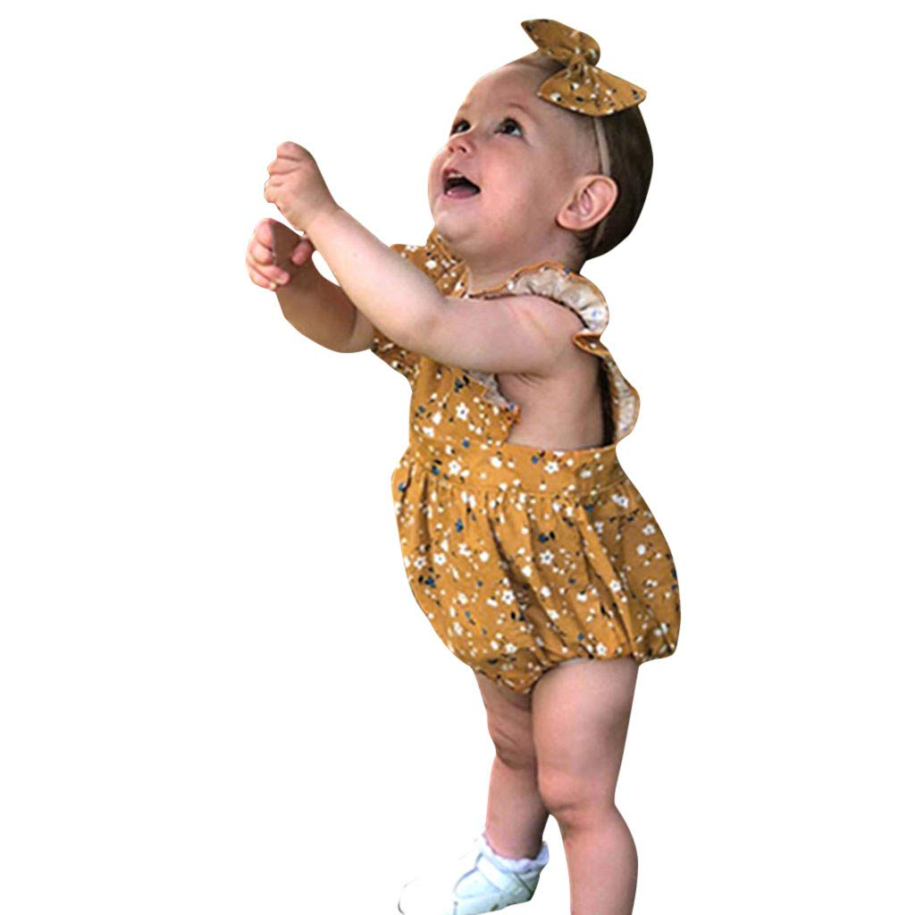 NUWFOR Infant Baby Girls Floral Print Jumpsuit Romper Bodysuit+Headband Outfits Sets(Yellow,12-18Months)