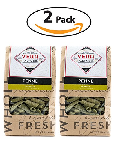 Vera Pasta Fresh Spinach Penne Pasta - Gourmet Italian Pasta for Authentic Taste & Texture - Artisan, Fresh Pasta Made in the USA - All Natural, High-Protein Penne Pasta - 2 (Natural Bronze Mill)