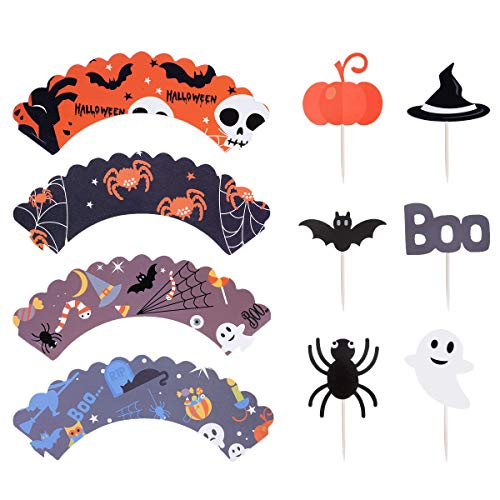 Haley Party Halloween Cupcake Toppers Wrappers Decoration Party Cake Picks Cupcake Liners with Spooky Cute Bat Spider Boo Witch Pumpkin Halloween Supplies Set of 24