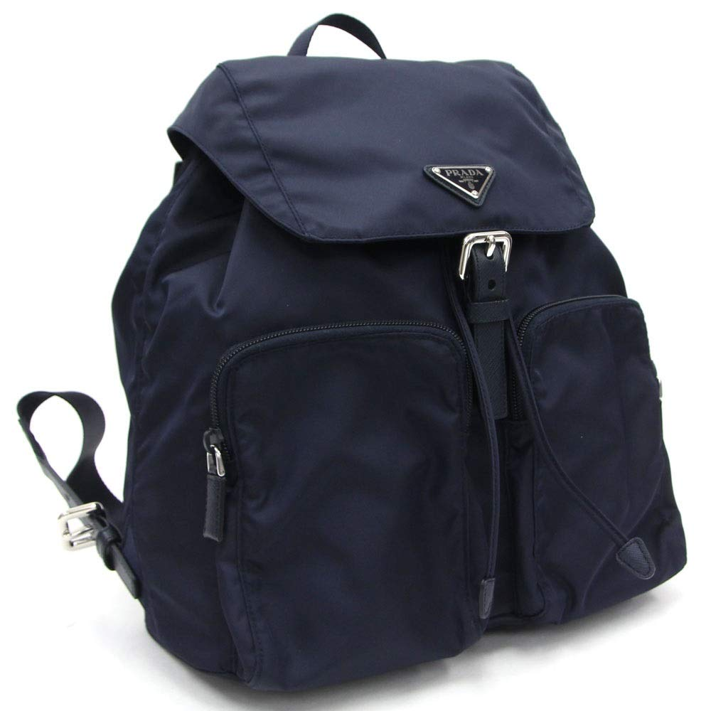 Image of Luggage Prada Zainetto Unisex Navy Tessuto Nylon Backpack Rucksack Leather Trim 1BZ005