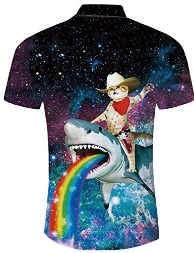 shirts Aloha Cat Hawaïen T Manches Pantalons Shark t Plage Ensembles À Et Hawaii Chemise xxl Galaxy Boutons Raisevern Vacances Hommes S Shorts Outfits Courtes Usure Vêtements Casual pSH0x0