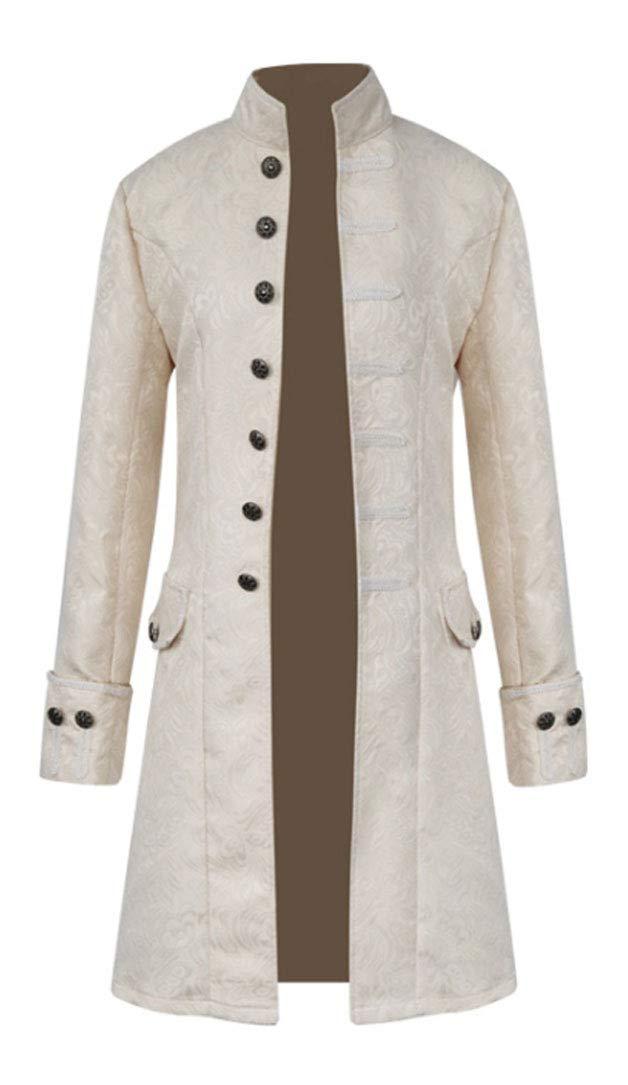 MasaRave Mens Gothic Jacket Steampunk Victorian Jacquard Coat 4