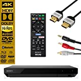 Sony UBP-X700 Streaming 4K Ultra HD 3D Hi-Res Audio Wi-Fi and Bluetooth Built-in Blu-ray Player with Remote Control- Black - NeeGo 4K HDMI Cable and NeeGo RCA Y-Adapter
