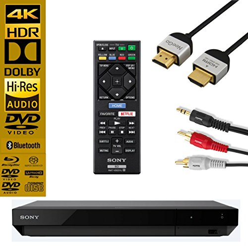 Sony UBP-X700 Streaming 4K Ultra HD 3D Hi-Res Audio Wi-Fi And Bluetooth Built-In Blu-ray Player With Remote Control- Black - NeeGo 4K HDMI Cable And NeeGo RCA (Sony Hd Output Adapter)