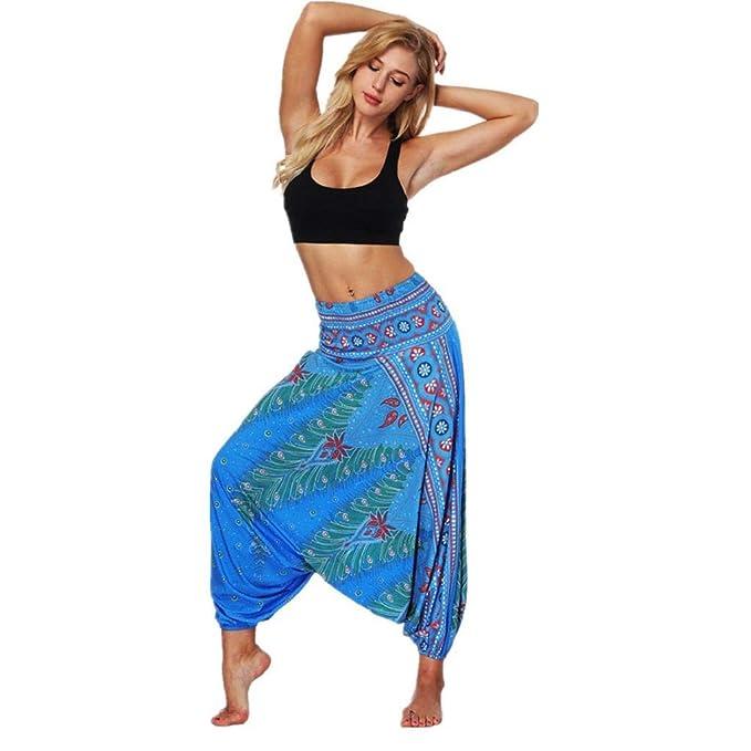 QUICKLYLY Yoga Mallas Leggins Pantalones Mujer,Pantalones De Yoga Holgados Sueltos De Verano para Mujer Pantalones Holgados De Bohemio Y Aladdin De ...