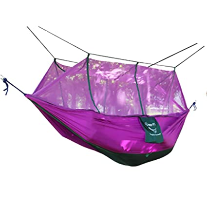 FashLady Purple: Double Hammock Tree 2Person Patio Bed Swing Outdoor with Mosquito Net Purple