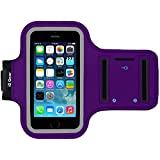 Running and Exercise Workout Armband Case for iPhone 5 5S 5C SE and iPhone 4 4S Mobile Cell Phones with Adjustable Sport Band, Reflective Border, Touch Screen Protection and Key Holder (Purple)