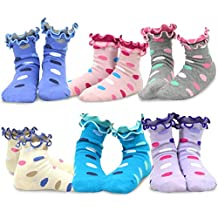 TeeHee Kids Girls Cotton Double Ruffle Crew Socks 6 Pair Pack