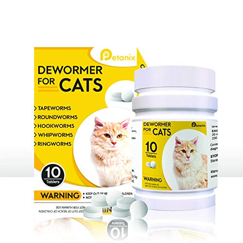 PETANIX 10 Tablet Cat Intestinal Cleanse - Deworming Treatment for Tapeworms and Roundworms for Cats - Works for Kittens