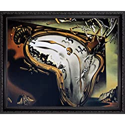 The Melting Watch by Salvador Dali. Framed Art Print Poster. Custom Made Real Wood Dark Mahogany with Black Trim Frame (22 1/8 x 18 1/8)