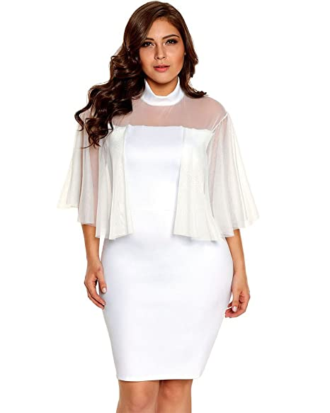 Lalagen Womens Flare Sleeves Plus Size Bodycon Party Pencil Mini