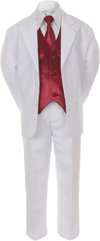 : 7pc BURGUNDY Vest Necktie Boy Baby Toddler Kid