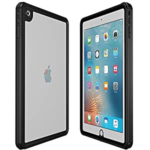 iPad 9.7 inch 2017/2018 Waterproof Case, AICase Water Resistant IP68 360 Degree All Round Protective Ultra Slim Thin Dust/Snow Proof with Lanyard for New iPad 9.7 2017/2018 (Black)