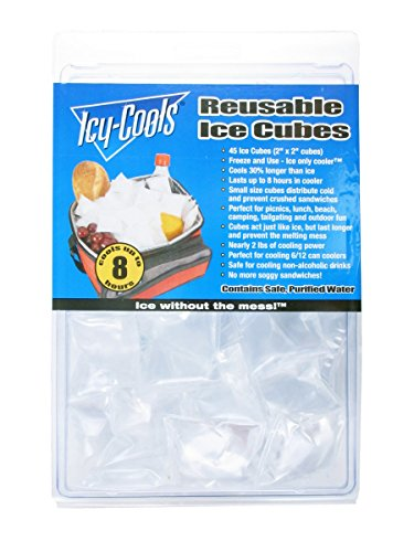"Icy Cools Reusable Ice Cubes 45 Ice Cube( 2""X 2"" cubes)."